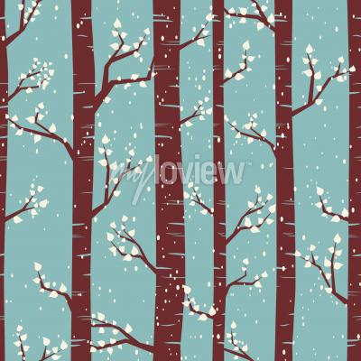 Wall mural Seamless tiling pattern with birches under the snowfall