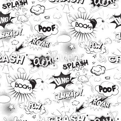 Wall mural Comic black speech bubbles in pop art style seamless pattern