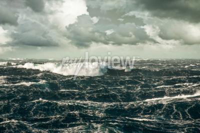 Canvas print Huge Wave Crashing Down at Storming North Atlantic