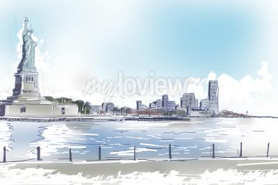 Canvas print Line art illustration of the Statue of Liberty and downtown New York City on a bright blue sunny day. Travel and tourism concept