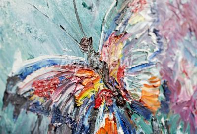 Canvas print Closeup fragment of oil painting butterfly