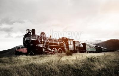 Wall mural Steam Train In A Open Countryside Transportation Concept