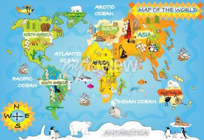 Wall mural Kids world map