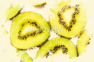 Canvas print Creative food art on slices of kiwi fruit