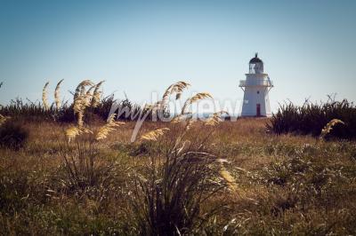 Wall mural Historic Lighthouse at Waipapa Point Catlins New Zealand