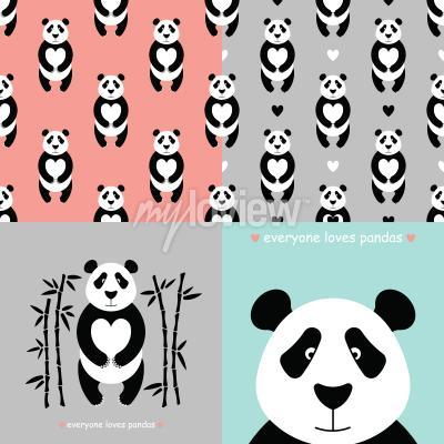 Wall mural Panda bear set