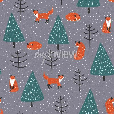 Foxes in winter forest vector seamless pattern