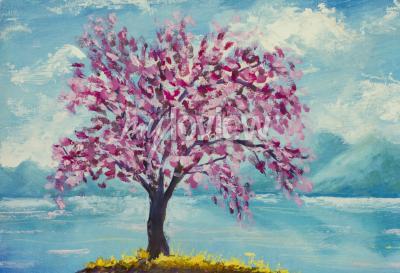 Canvas print Blooming sakura on water oil painting