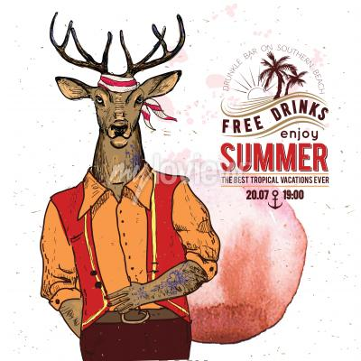Poster Illustration of pirate deer on textured background