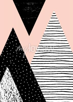 Wall mural Abstract geometric composition in black white and pastel pink