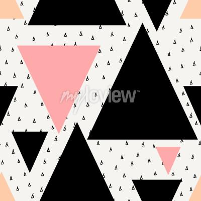 Wall mural Abstract geometric seamless repeat pattern in black cream pastel pink and orange