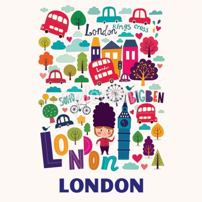 Wall mural pattern with London symbols