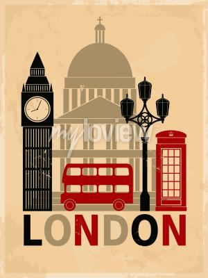 Poster Retro style poster with London symbols and landmarks