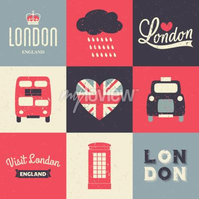 Poster A set of vintage style greeting cards with London symbols