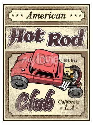 Poster Hot rod custom car poster
