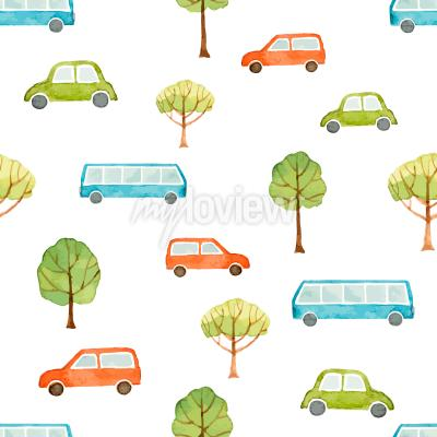 Wall mural Watercolor seamless pattern car bus and trees