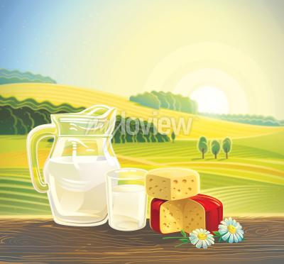 Poster Rural landscape with set of dairy products
