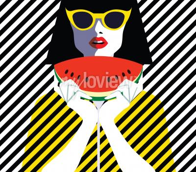 Canvas print Beautiful young woman with sunglasses and watermelon, retro style