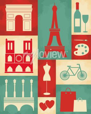 Retro style poster with paris symbols and landmarks