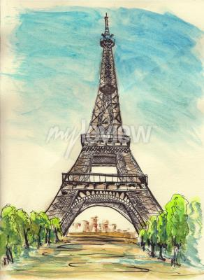 Canvas print Sketch of Paris Eiffel tower on paper