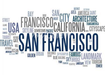 Wall mural San Francisco word cloud
