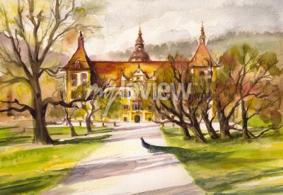 Canvas print Front facade of the Eggenberg castle in Graz Styria Austria
