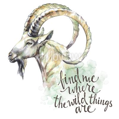 Canvas print Watercolor goat with handwritten inspiration phrase