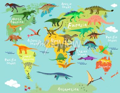 Wall mural Dinosaurs map of the world for children and kids