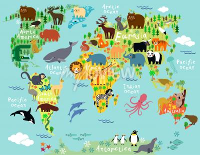 Wall mural Animal map of the world for children and kids