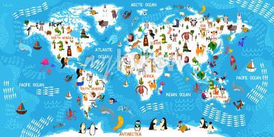 Wall mural Cartoon animal world map