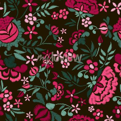 Canvas print Embroidery seamless pattern with beautiful flowers