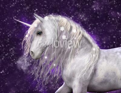Wall mural A beautiful white unicorn with silvery mane that has sparkling snow flakes in it