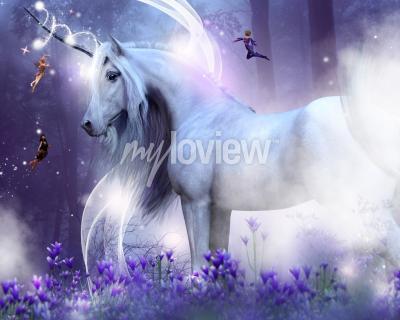 Wall mural A majestic unicorn with three little fairies sending magic sparkles