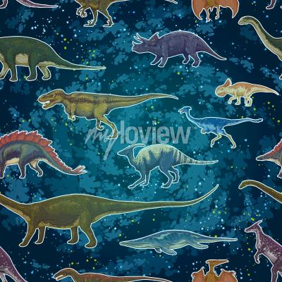 Wall mural Diplodocus Tyrannosaurus Rex Pterodactylus... in seamless pattern, hand drawn vector illustration