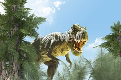 Dinosaur in the jungle background 3d render