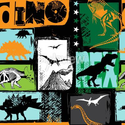 Wall mural Original design with t-rex dinosaur
