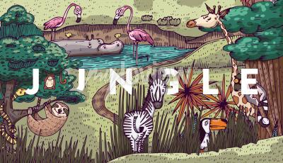 Wall mural Wild life in jungle with different animals