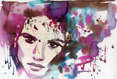 Canvas print Watercolor illustration to depict the portrait of a young girl's fancy.