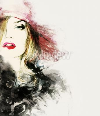 Canvas print Style woman portrait abstract fashion watercolor illustration