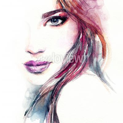 Poster Abstract woman face watercolor painting
