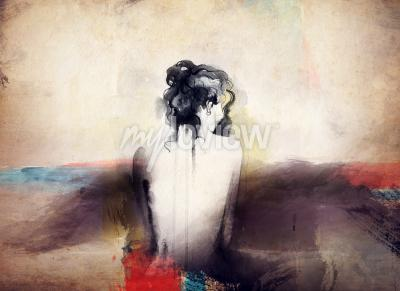 Canvas print Woman portrait abstract watercolor fashion background