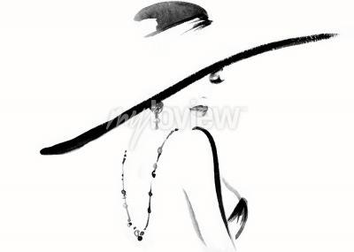 Canvas print Woman portrait with hat fashion illustration