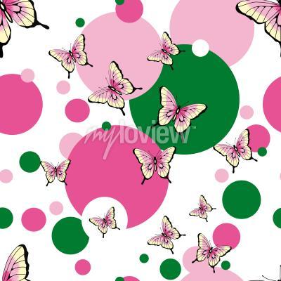 Wall mural Butterflies seamless vector pattern