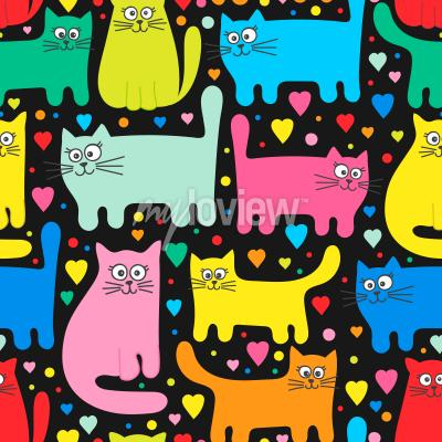 Wall mural Funny kittens and hearts