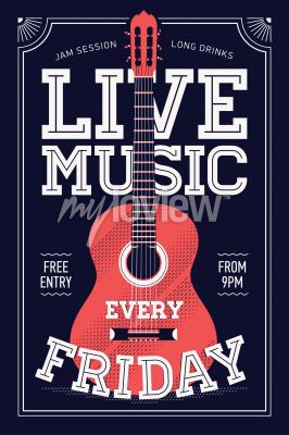 Music Themed Wall Art With Cool Lettering And Guitar