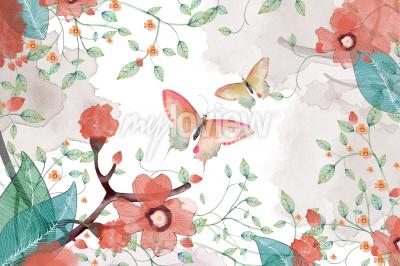 Wall mural Creative Illustration and Innovative Art Butterfly Flower and Leaves