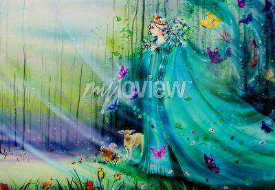 Wall mural Scenic view of fantasy world with fairies and ethereal animals
