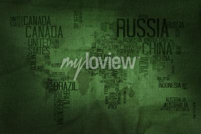 Wall mural Countries Name Typography World Map on Military Fabric Texture Background