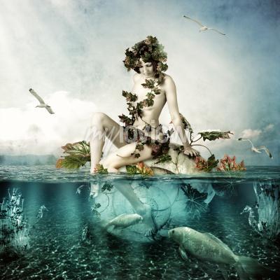 Mermaid underwater beautiful woman seating on a shell in sea or ocean