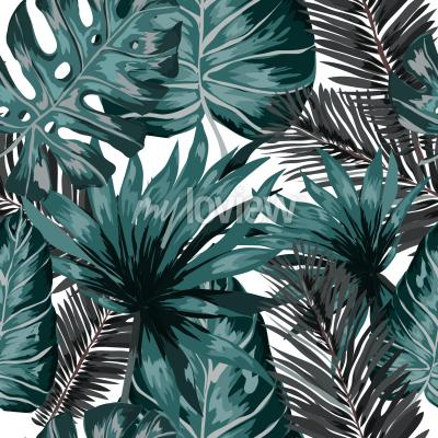 Wall mural Watercolor seamless pattern with tropical leaves palms monstera passion fruit